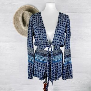 Forever 21 Blue Tie Front Long Sleeve Romper S